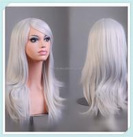 Multi color carnival party wigs fashion synthetic fiber wigs silvery white wig 70cm