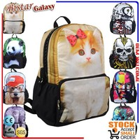BBP112 fashionabel Zipper animal printed ladies backpack with genuine leather cat cute backpack for college women