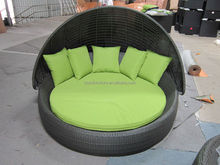 New arrrival High Quality garden rattan sun bed with tent wicker round bed