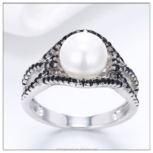 Hot Selling 925 Sterling Silver Rings , Zircon Beads Rings , Pearl Jewelry in Low Price