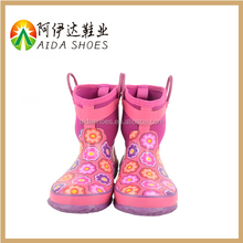 2015 fashion high quality girl pink pure rubber rain boots for kids