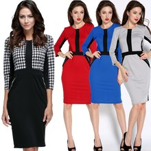 2015 New design ladies Stretch Tunic Wear To Work office Dress SV007035