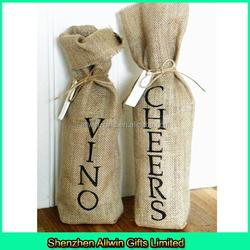 Burlap Single bottle Wine tote/Drawstring burlap wine bag with custom logo