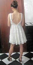 algodón blanco crochet encaje vestido sin espalda sexy