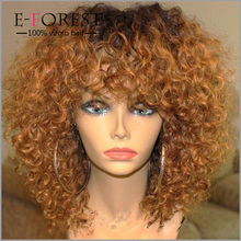 #2/30 Color 100% Malaysian Virgin Human Hair Curly Ombre Lace Front Wig 150 Density Curly Two Tone Ombre Wig for Black Women