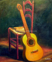 Famous Artists Handmade High Quality Chair Guitar Oil Painting on Canvas for Wall Decoration