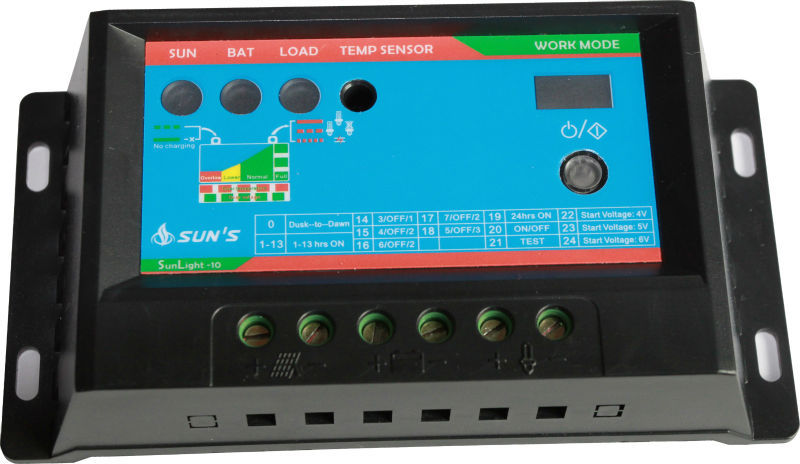 PWM 12V 24V 10A li-ion charge controller solar,manual pwm solar charge controller With CE RoHS