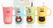 new creative hot-selling animal bear cat head ceramic gift mug with spoon and lid,lovely bear cat pattern princess cup