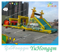 2014 popular giraffe inflatable bouncer obstacle course playground for kids