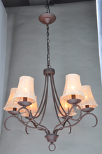 American style linen lampshade brown colored glass chandeliers for home decor