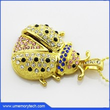 Personality jewelry insects shape usb crystal necklace usb flash drive fancy usb pen