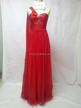 One Shoulder Hot Sexy Ladies Fashion New Design With Beading Bodice Formal Women Popular Long Style Red Evening Dress