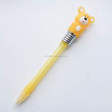Funny promotional gift 3D animal top flashlight ball pen , light up pen , led light pen