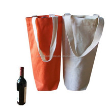 Factory canvas tote bags for wine bottle with custom printing