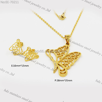 Golden fashion necklace,butterfly pendant,fashion accessories jewelry fashion jewelry stainless steel necklace