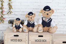 special airline company giveaway stuffed plush teddy bear soft toy flight attendants uniform bear