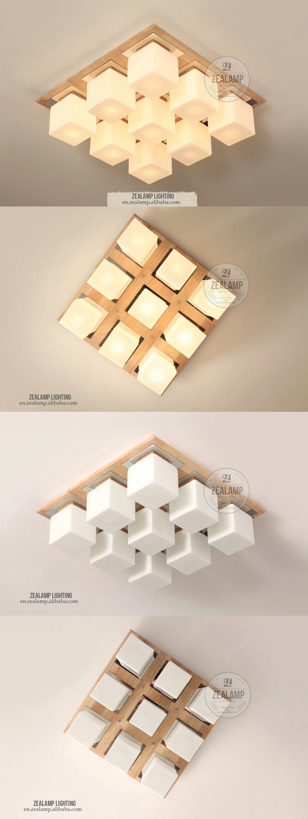 Moderne korte massief hout plafondlamp 9 hoofden glas gang balkon ...