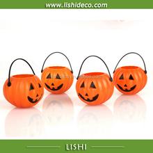 cheap decorative Halloween pumpkin basket plastic buckets