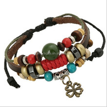Retro Women Bead Leather Bracelet Charms Wing / Star / Leaf / Tower