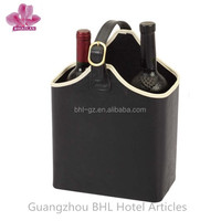 2014 Christmas leather wine carrier in packaging gift box,2 bottle leather wine basket wine bottle bag YJ-10 manufacturing China