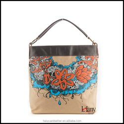 Beautiful lady canvas tote bag leather handles