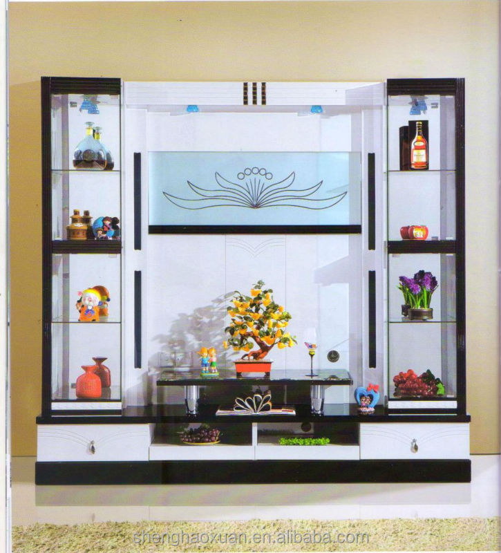 Living room cabinet wall units home furniture lcd tv wall for Lcd unit design for living room