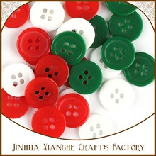 Christmas White Red and Green Color Plastic Button Scrapbooking Decoration