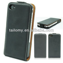 Cheap Custom leather filp Mobile/cell phone case for iphone 4 Case