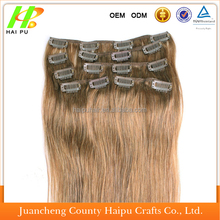 Factory price 2015 hot sell russian wavy tape one piece human hair clip-in hair extension