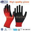 NMSAFETY Red polyester liner glove latex garden gloves with crinkle finish