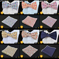 2015 Latest And Popular Men's Printing Pocket Square Matching Pre Tied Bow Tie Handkerchief Set