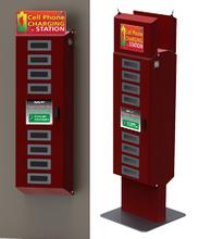 New Design Slim Public Mobile Phone Charging Station kiosk with card reader