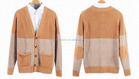 2015 name brand fashion elbow patch mens winter cardigan sweater