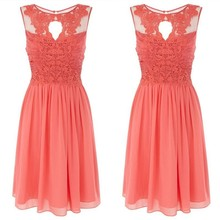 BD009 Hot Sale Real Picture A-line Scoop Knee Length Lace and Chiffon Coral Short Bridesmaid Dress