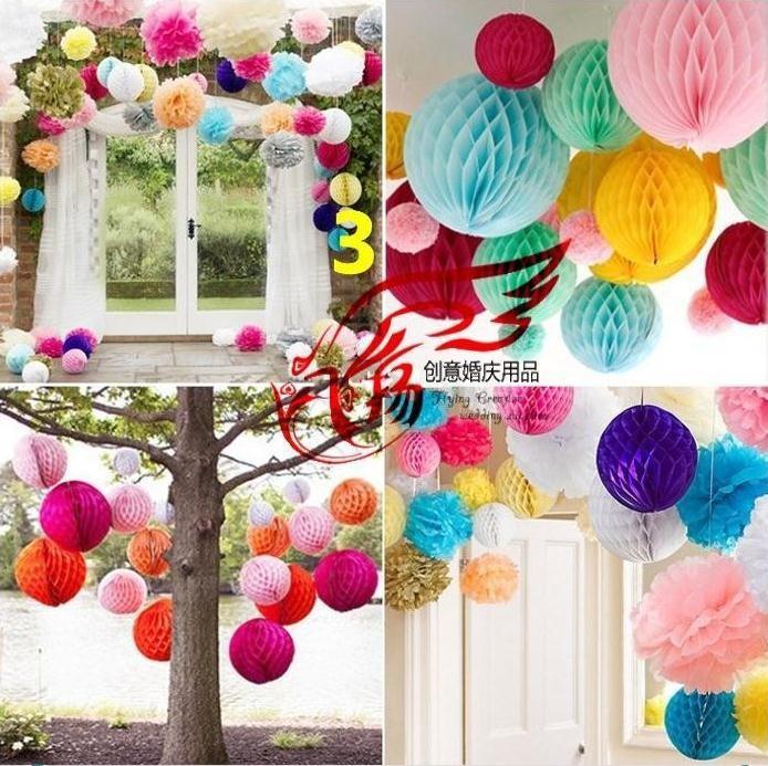 Бумажные шары-соты для украшения зала