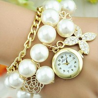 High Quality Fashion Ladies Wrist Watch Pearl Bracelet Watch WW64