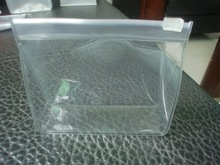 eco-friendly Heat-seal pvc clear plastic zipper bag with side gusset