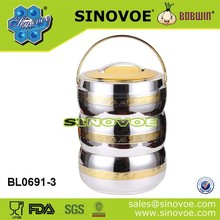 Ningbo sinovoe BL0691 golden and silver 4.5L ABS thermal food storage
