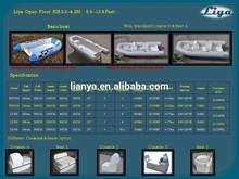 Liya 2.4 m - 4.2 m comercial aerodeslizador bote inflable de la consola central barco de pesca