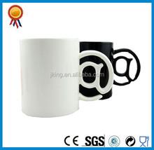 personalized unique handle shape white black ceramic mug