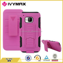 Holster combo stand case for htc m9,for htc m9 hard pc silicone case