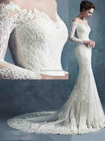 2015 Elegant Off the Shoulder Mermaid Beading Lace Long Sleeve Wedding Dress