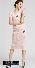 Sscshirts hermoso baratos design100% vestido de algodón