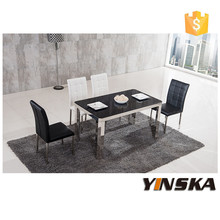 restaurant antique design metal stainless steel dining table with leather chairs
