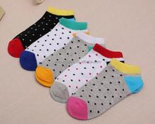 full of black small dots soft girl ankle socks