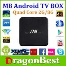 2015 free android M8 2g 8g xbmc kodi 14.2 android 4.4 tv box 4k 3D on android mini pc stick amlogic s802 xxxl sexy movis