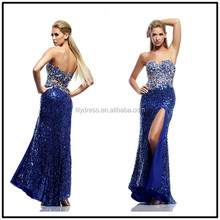 Royal Blue Sequin Side Open Floor Length Custom Made Long Prom Evening Dresses Vestido De Fiesta PD167 dress party blue