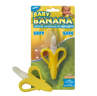 2015 new arrival silicone BPA free in stock baby banana tooth brush