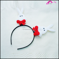 Cheap Lovely Handmade Cotton Rabbits Plastic Headband For Girls Fashion Accessories