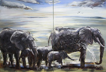 the wild elephant family new arrival 100%handmade beautiful animal oil painting